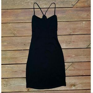 Black Slip Dress with Lace Back